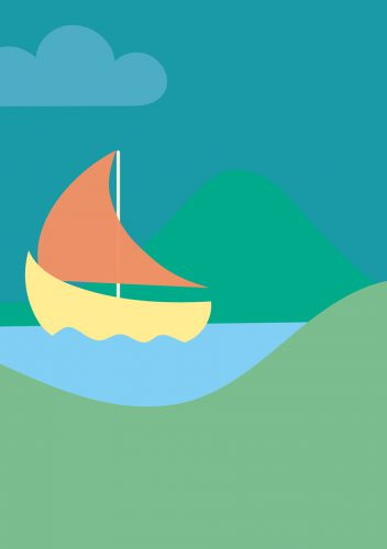 Birth card backside: sail boat, lake and mountains