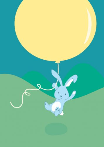 Birth card of bunny arriving by balloon