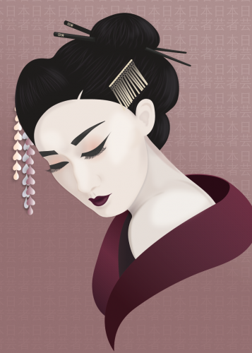 Graphic design - Portrait illustration of Japanese woman (Geisha)