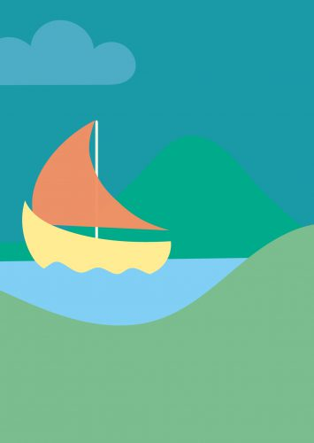 Back page of birth card: illustration of a sail boat on a river between the mountains