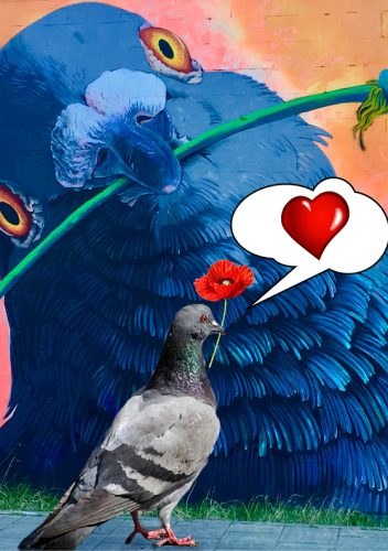 Photo edit: pigeon in love with street art of a giant pigeon - content creation