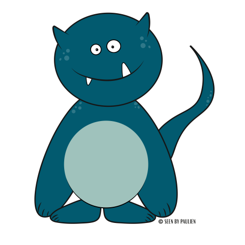 Graphic design - Illustration of Woektiedoedel: the cute & goofy blue monster